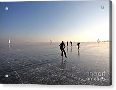 Ice Skating On The Gouwzee In The Acrylic Print