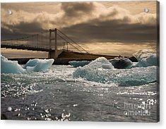 Iceberg Drifting To Sea At Jokulsarlon Acrylic Print
