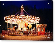 Illuminated Retro Carousel At Night Acrylic Print