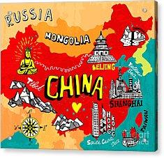 Illustrated Map Of China Acrylic Print