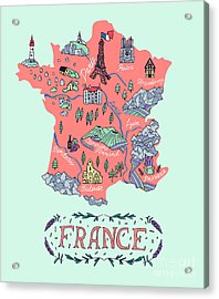 Illustrated Map Of France. Travel Acrylic Print by Daria i
