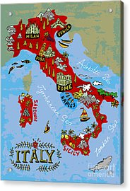 Illustrated Map Of Italy. Travel Acrylic Print by Daria i