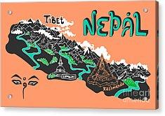 Illustrated Map Of Nepal Acrylic Print