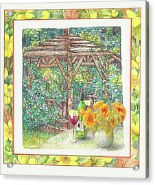 Acrylic Print featuring the painting Illustrated Sunflower Picnic by Judith Cheng