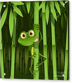 Illustration, Curious Frog On Stem Of Acrylic Print