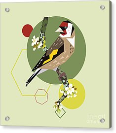 Illustration Of A Bird On Blooming Acrylic Print
