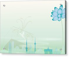 Illustration Of A Blue Flower And Acrylic Print by Stock4b-rf