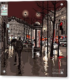 Illustration Of A Boulevard In Paris At Acrylic Print
