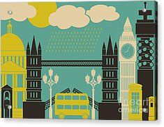 Illustration Of London Symbols And Acrylic Print by Iveta Angelova