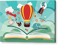 Imagination Concept - Open Book With Acrylic Print