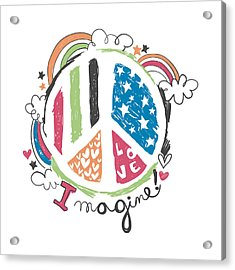 Imagine Love And Peace - Baby Room Nursery Art Poster Print Acrylic Print