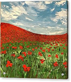 In Flanders Fields The Poppies Blow  Acrylic Print