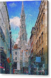 Acrylic Print featuring the photograph In-spired  Street Scene Brussels by Leigh Kemp
