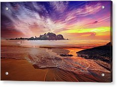 Incoming Tide At Sunset Acrylic Print