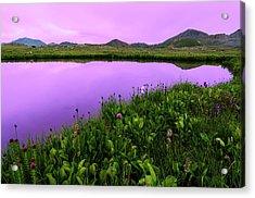 Independence Pass Purple Sunset Acrylic Print by Photo By Matt Payne Of Durango, Colorado
