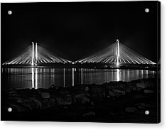 Acrylic Print featuring the photograph Indian River Bridge After Dark In Black And White by Bill Swartwout Fine Art Photography