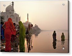 Indian Woman,traditional Dress In Front Acrylic Print by Partha Pal