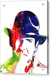 Indiana Jones Watercolor Acrylic Print