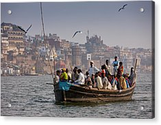 Indians Cruising River Ganges Acrylic Print by Tim Graham