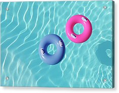 Inflatable Rings In Pool Acrylic Print