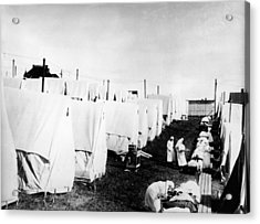 Influenza Epidemic Tent Hospital Camp Acrylic Print by Hulton Archive