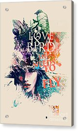 Ink Illustration With Painted Female Acrylic Print