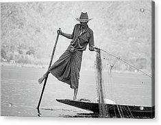 Inle Lake Fisherman Byw Acrylic Print