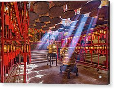Inside The Man Mo Temple,hong Kong Acrylic Print by Photography By Sanchai Loongroong