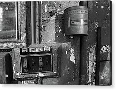 Acrylic Print featuring the photograph Inside The Projection Room - Bw by Kristia Adams