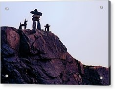Acrylic Print featuring the photograph Inukshuk Family In Labrador, Canada by Tatiana Travelways