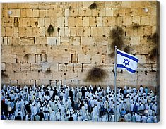 Israeli Flag Flies At The Western Wall Acrylic Print by Gary S Chapman