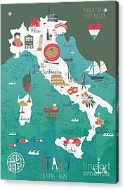 Italy Map Print Design Acrylic Print