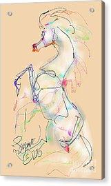 Ivory Horse Rising Acrylic Print