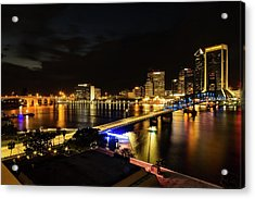 Jacksonville Skyline By Night Acrylic Print