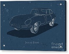 Jaguar E-type - Front View - Stained Blueprint Acrylic Print