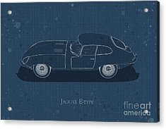 Jaguar E-type - Side View - Stained Blueprint Acrylic Print