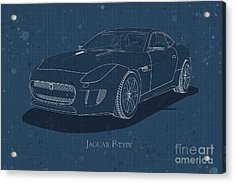 Jaguar F-type - Front View - Stained Blueprint Acrylic Print