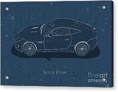 Jaguar F-type - Side View - Stained Blueprint Acrylic Print