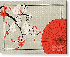 Japanese Umbrella And Japanese Cherry - Acrylic Print