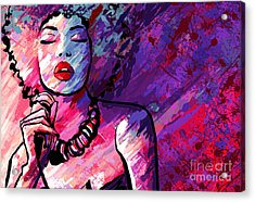 Jazz Singer With Microphone On Grunge Acrylic Print