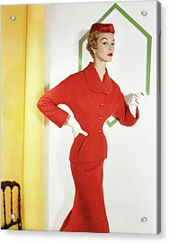 Jean Patchett Wearing Christian Dior Acrylic Print