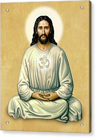 Jesus Meditating - The Christ Of India - On Gold With Om Acrylic Print