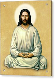 Jesus Meditating - The Christ Of India - On Gold Acrylic Print