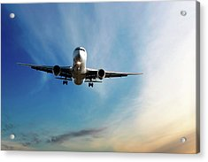Jet Airplane Landing At Dusk Acrylic Print