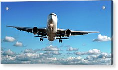 Jet Airplane Landing In Cloudy Sky Acrylic Print
