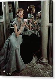 Jo Copeland In A Gray Dress Acrylic Print by Horst P. Horst