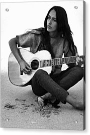 Joan Baez Playing Guitar On The Beach Acrylic Print