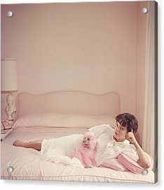 Joan Collins Relaxes Acrylic Print by Slim Aarons
