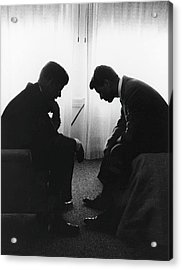 John Kennedy Confers With Robert Kennedy Acrylic Print by Hank Walker