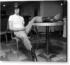 John Travolta, With His Hat And Boots Acrylic Print by New York Daily News Archive